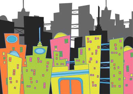 city block: cityscape (vector) - cartoon illustration Illustration