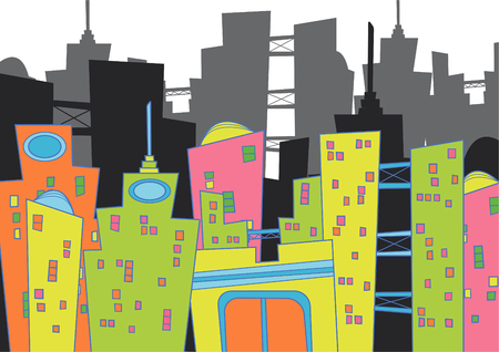cityscape (vector) - cartoon illustration Illustration