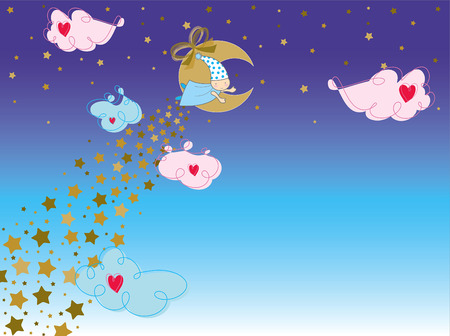bedtime story (vector) - illustrated 2D art for children with lots of copy space