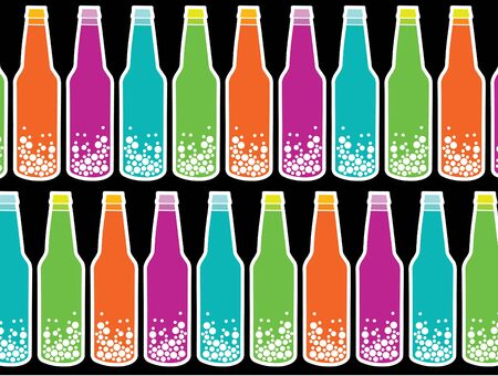 carbonated: rainbow soda pop on black (vector) - background illustration
