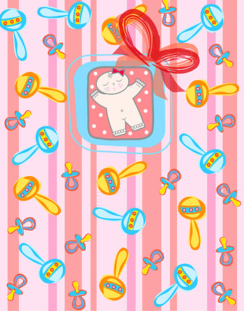 innocent girl: its a GIRL! (vector) - light skin tone baby girl  illustrated background or card Illustration