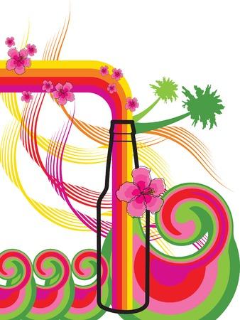 rainbow cocktail: Hawaiano botella brisa (vector) - ilustrado antecedentes