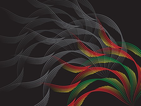 webbing: red and green wave on black (vector) - illustrated background