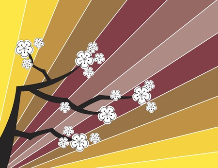 white cherry blossoms on retro stripes (vector) - illustrated background Vector