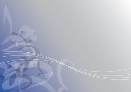 abstract jawi curves on blue (vector) - illustrated background Illustration
