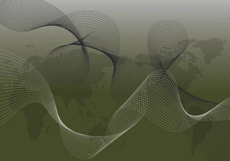 webbing: white and black twist on world map (vector) - illustration