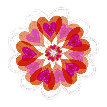 red flower burst hearts (vector) - illustration Vector