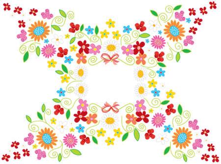 spring flowers frame on white (vector) - illustration