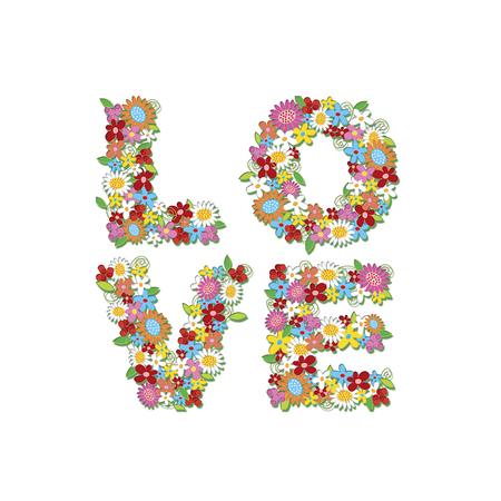 LOVE spring flowers (vector) - illustration