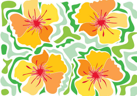tropical yellow hibiscus (vector) - illustrated background Vector