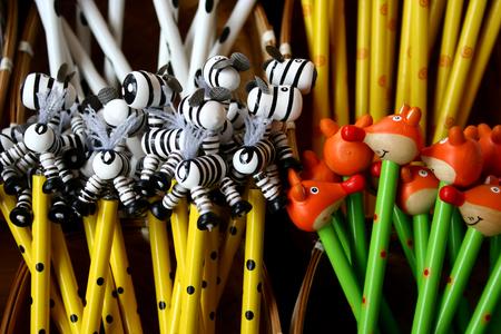 colorful fun animal pencils - detail Stock Photo - 1557345