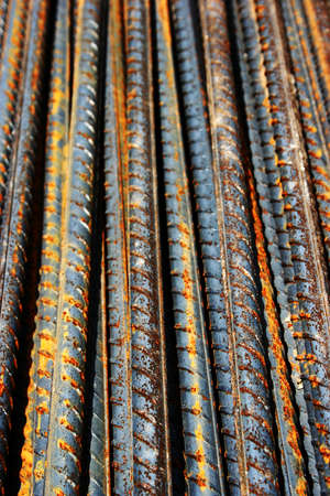 rusty grunge steel rods - vertical photo