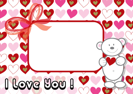white valentine teddy and pink hearts (vector) - illustrated background  valentine theme Vector