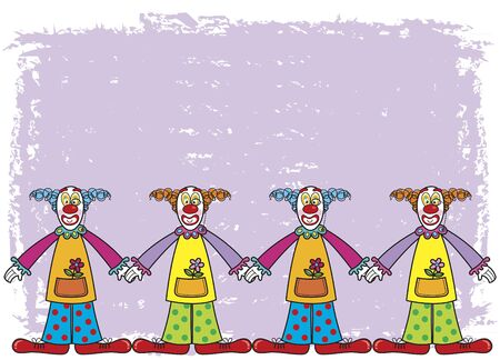 clowns with purple background (vector) Stock Vector - 1687029