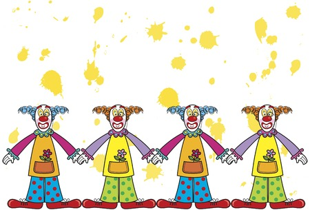 silly clowns with yellow splat background (vector) - cartoon illustration Stock Vector - 1687027