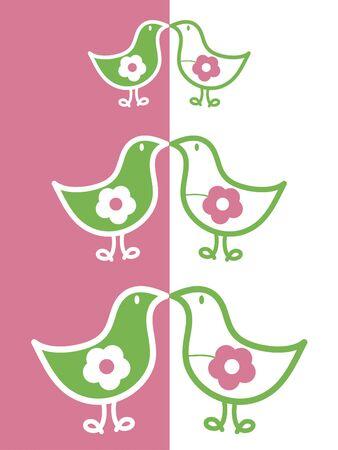 kissing flower chicks (vector)