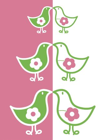 silly: kissing flower chicks (vector)