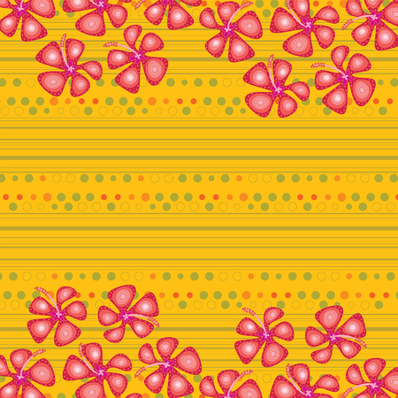 red hibiscus with dots on yellow (vector)