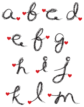 black charcoal cursive alphabet with red heart (raster) - part 1 of a complete set Vector