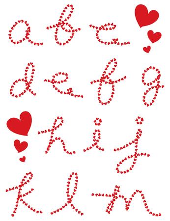 valentine hearts cursive alphabets (raster) - part 1 of a complete set Vector
