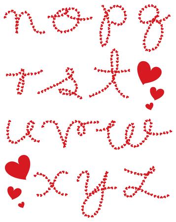 valentine hearts cursive alphabets (raster) - part 2 of a complete set Vector