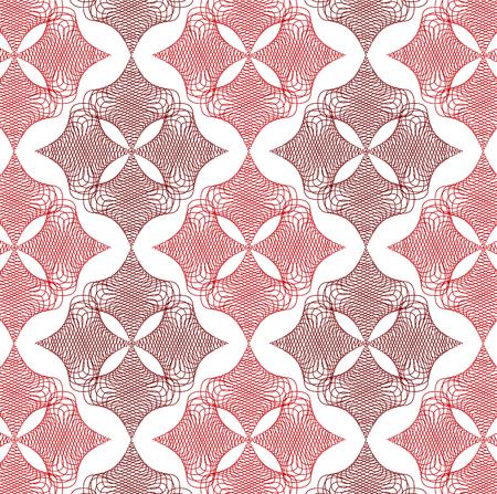 webbing: red twist diamond lace pattern on white Illustration