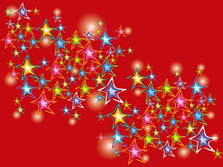sparkling christmas stars on red Vector