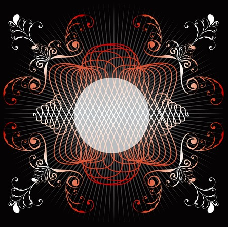ornate red swirl emblem frame Vector