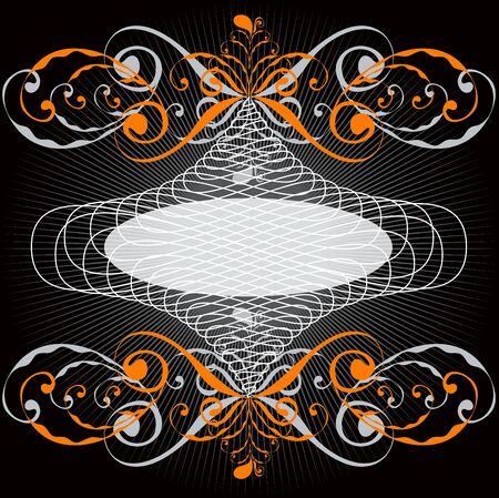 ornate orange swirl emblem frame Vector