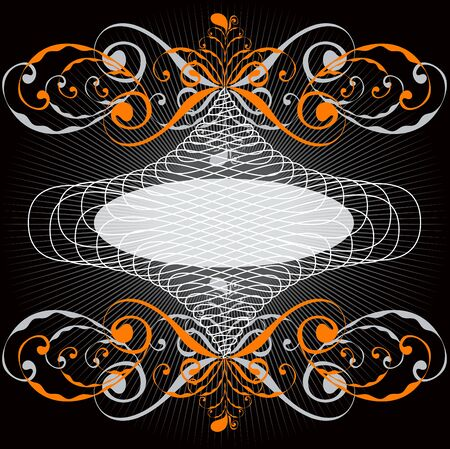 ornate orange swirl emblem frame Vector
