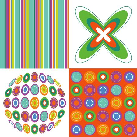 retro pop orange green 4 pattern combo Stock Vector - 1815915