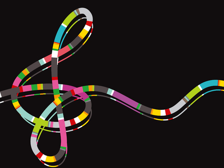 color stripe music note on black Vector
