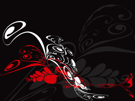 floral swirl cascade in red and white on black Illustration