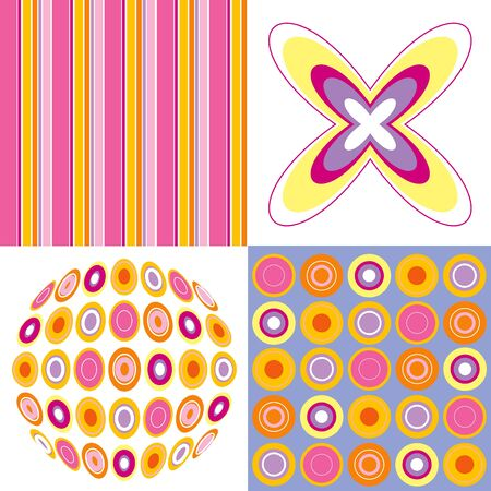 retro pop pink yellow 4 pattern combo Vector