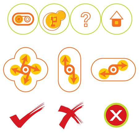 10 yellow and red web buttons Vector