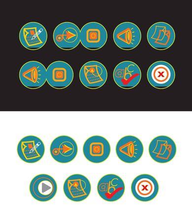 19 green web buttons Vector