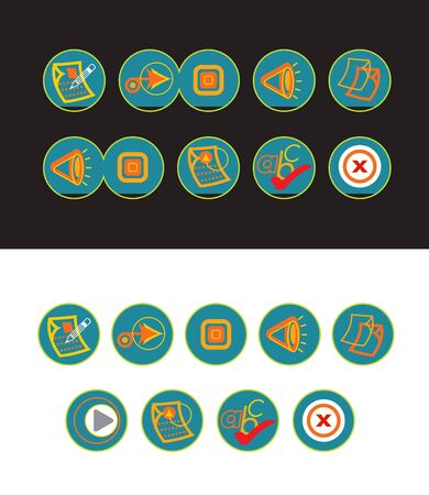 19 green web buttons Vector
