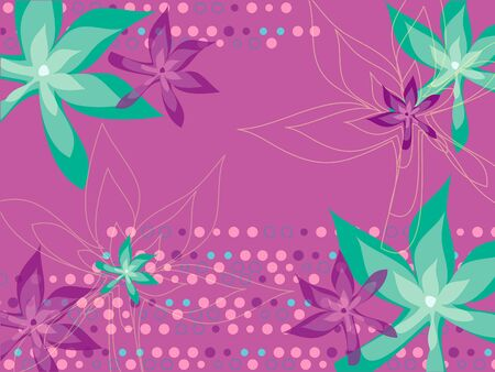 leafy floral dots magenta turquoise pattern Stock Vector - 1828331