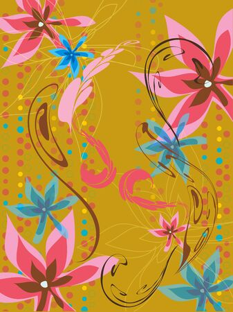 leafy floral dots pink blue ochre pattern Vector