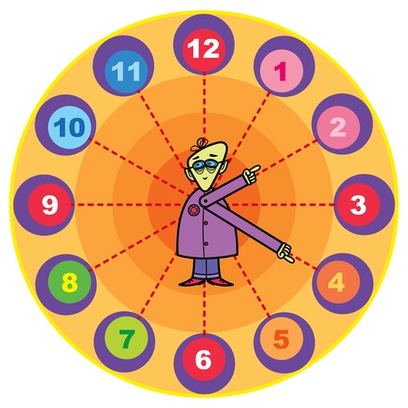 time line: mr. professor cartoon clock Illustration