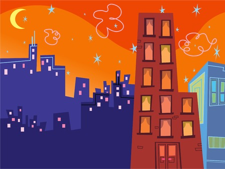 cartoon groovy buildings silhouettes Vector