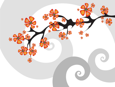 fusion tropical flower abstract Vector