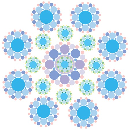 turquoise blue and purple lace snowflake Vector