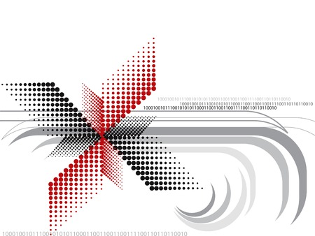 halftone red and black design spin Vector