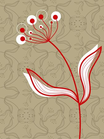 oriental red flower on taupe pattern