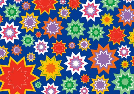 colorful star flower pattern on blue Vector