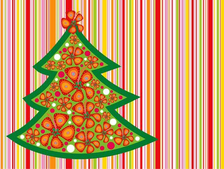 tropical christmas tree on candy red stripes Vector