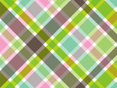 bias: sweet green and pink diagonal plaid pattern