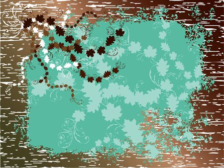 vintage grunge autumn leaves turquoise on brown wood Vector