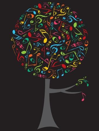 note musicali: retr� grunge colore note musicali pop albero